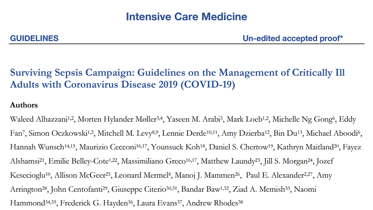 Guidelines on the Management of Critically Ill Adults with Coronavirus Disease 2019 (COVID-19)